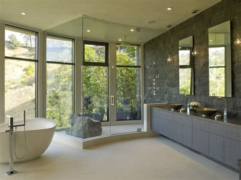 Modern Master Bathroom Ideas Modern Style Master Bathroom Opens To View Clean Lines Design Rock Earth Element