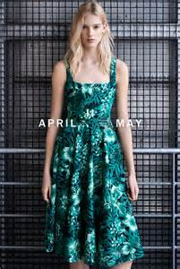 Zara Trafaluc Green Flower Dress zara april may lookbook prints shapes
