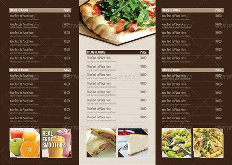 tri fold restaurant menu templates free multi purpose tri fold menu card by dreamia graphicriver