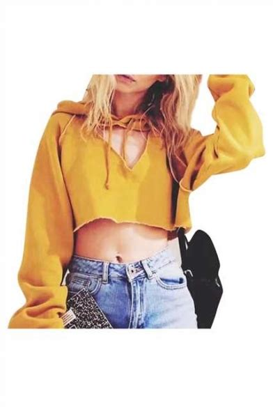 Cut Out Sleeve Crop Hoodie White S cut out front plain sleeve crop hoodie