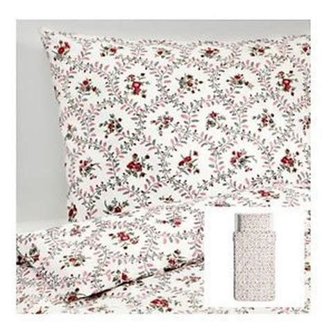 ikea red and white bedding ikea hallrot duvet cover and pillowcase set floral white colonial h 197 llrot