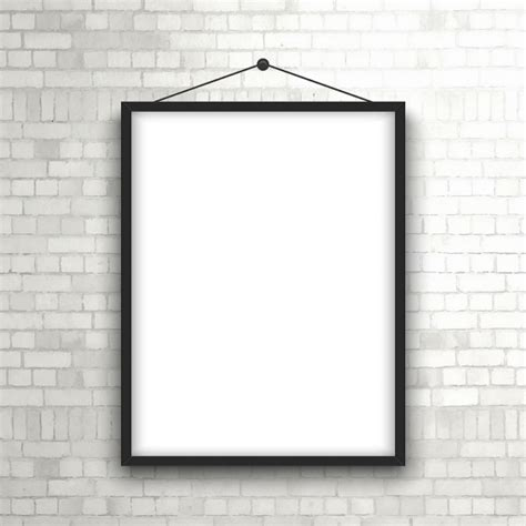 Template For Hanging Pictures by Blank Picture Frame Hanging On A Brick Wall Vector Free