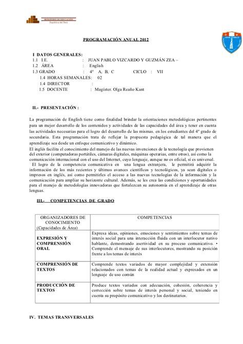 programacion anual y unidades de acuerdo a jec 3 secundaria comunicacion 2016 programaci 243 n anual 2012 unidad 3