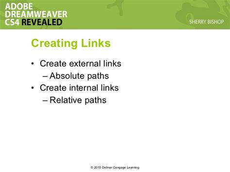 dreamweaver creating links dreamweaver chapter 04