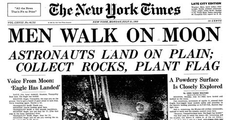 the new york times has when men first walked on the moon a moment relived