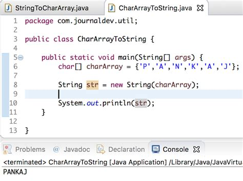 tutorial java array string to char array char array to string in java