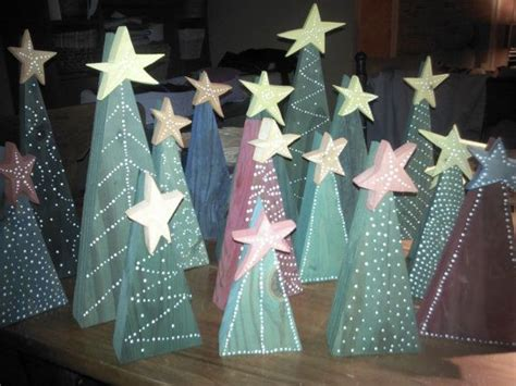 primitive wooden christmas trees with stars