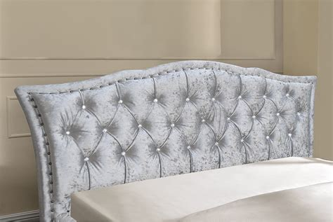 double upholstered headboard georgio crushed velvet silver bed frame double or king