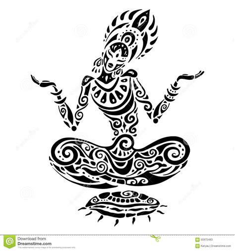 meditation lotus pose tattoo style stock vector image