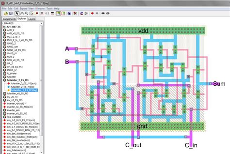 layout full half adder circuit diagram for lab half adder code
