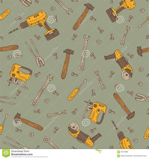 seamless pattern tool seamless vector pattern with tools stock illustration