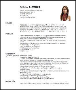 Ejemplo De Curriculum Vitae Trabajo Social Modelo Curriculum Vitae Trabajador Social Livecareer