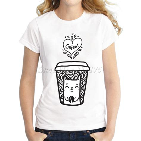 coffee shop t shirts design 2017 ladies fashion doodle coffee and cat design t shirt