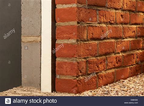brick wall section brick wall with insulation cross section stock photo