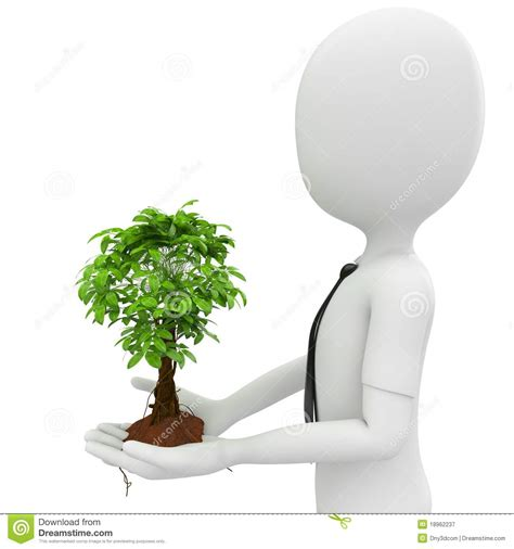 Formal Flower Garden - 3d man with a growing tree stock illustration image of formal 18962237
