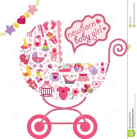new born card template newborn baby icons in form of carriage stock vector