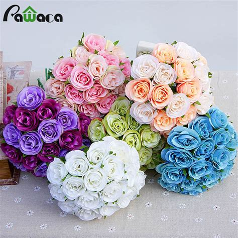 decorative flowers wedding decoration fake silk artificial flower bride