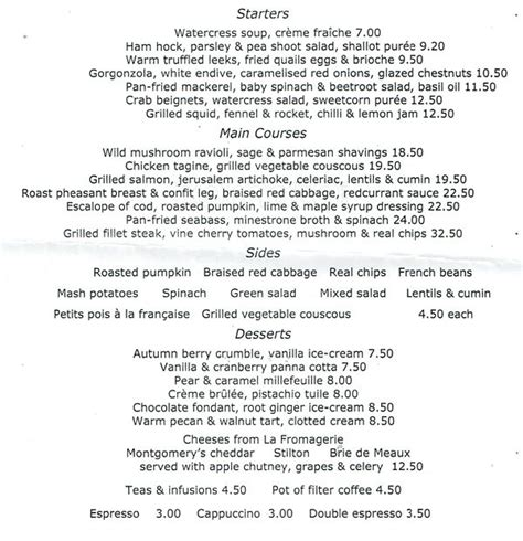 grill room menu the grill room durrants hotel menu zomato uk