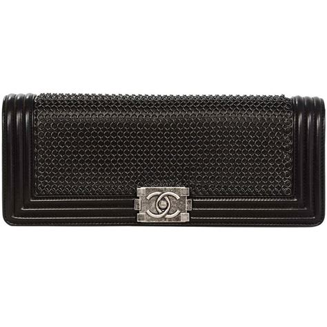 Clutch Handbag Chanel Leboy chanel 2013 black chain mail le boy clutch bag at 1stdibs