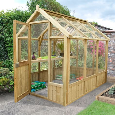 forest garden vale wooden  toughened glass greenhouse