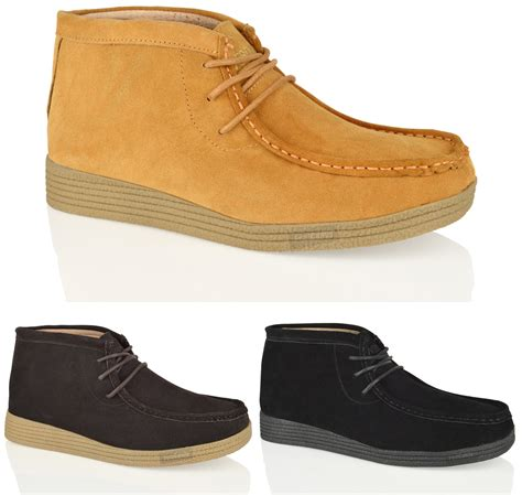 mens suede leather casual formal lace up ankle work desert