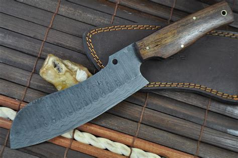 Handcrafted Chef Knives - damascus chef knife handcrafted unique design perkin