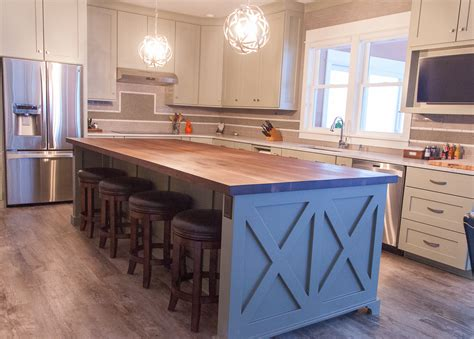 kitchen block island farmhouse chic sleek walnut butcher block countertop