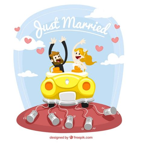 Just Married Auto Comic by Just Married Illustration Vector Free