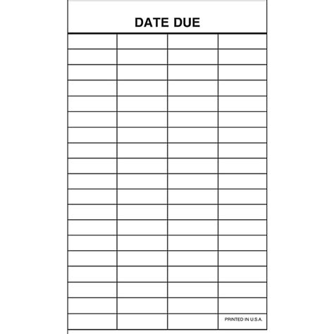 Business Card Template Three Column by Demco 174 Date Due Slips Demco