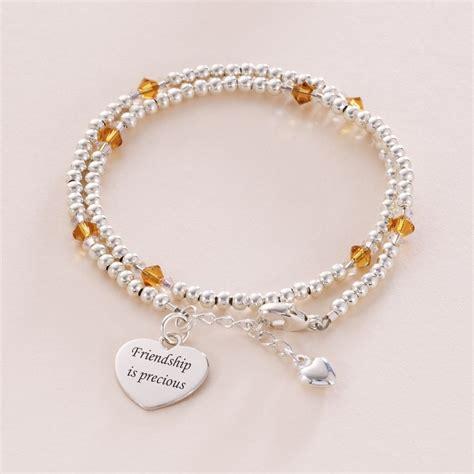 friendship wrap bracelet birthstone engraving jewels