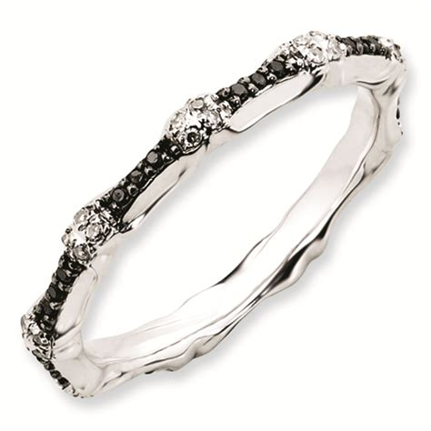 carinagems sterling silver stackable black white