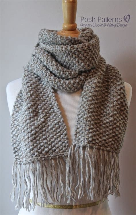 knit scarves patterns seed stitch scarf allfreeknitting