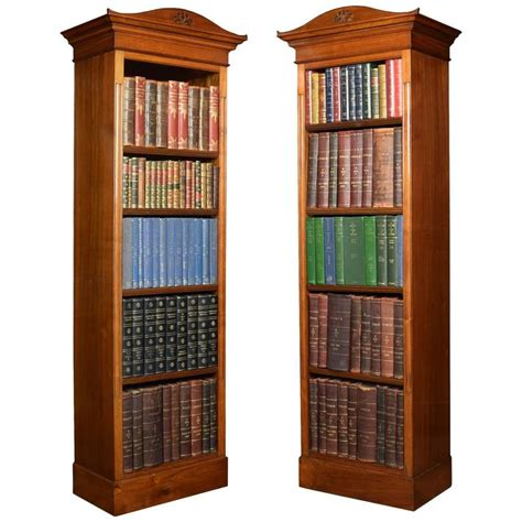 Narrow Open Bookcase Pair Of Walnut Narrow Open Bookcases At 1stdibs