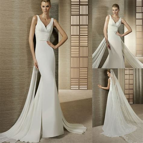 Dress White Slim Waist 17029 simple v neck ruched waist slim a line chiffon wedding