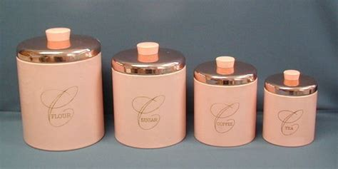 vintage cream and pink kitchen canister set 4 by whitepicket vintage pink copper retro ransburg nesting canister 4