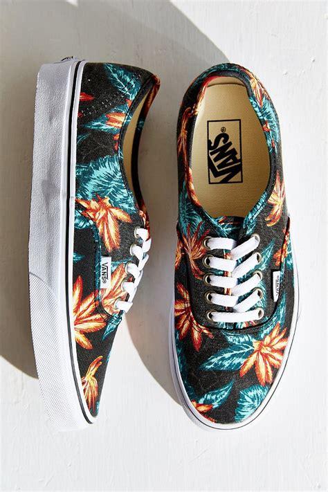 lyst vans authentic vintage aloha sneaker in black