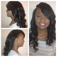 perm on leave out for sewin sew in with minimal leave out with deep side part and wand
