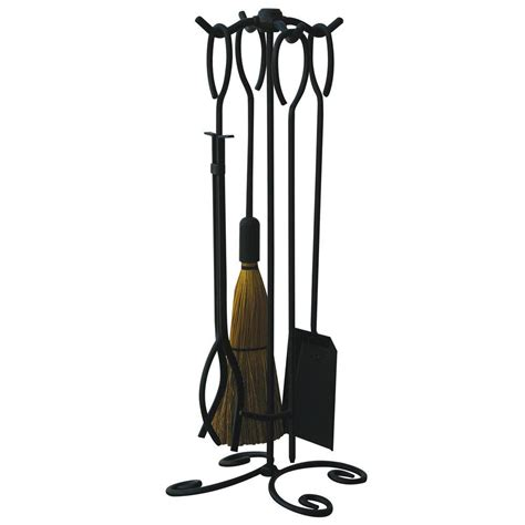 iron fireplace tools uniflame black wrought iron 5 fireplace tool set with ring handles f 1187b the home depot