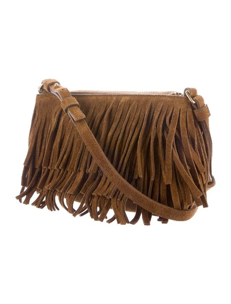 saint laurent monogram small suede fringe crossbody