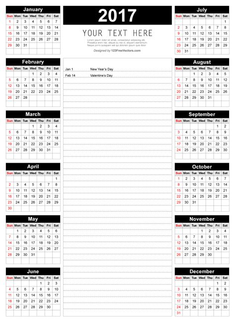 printable calendar november 2017 with notes printable 2017 calendar template with notes 123freevectors