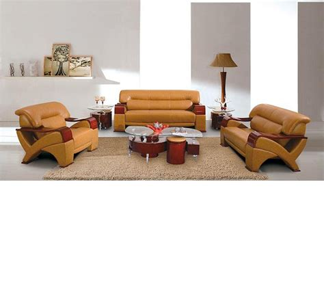 Modern Leather Living Room Set Dreamfurniture 2034 Modern Camel Leather Living Room Set