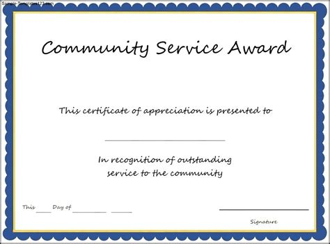 community service hours certificate template community service award template sle templates