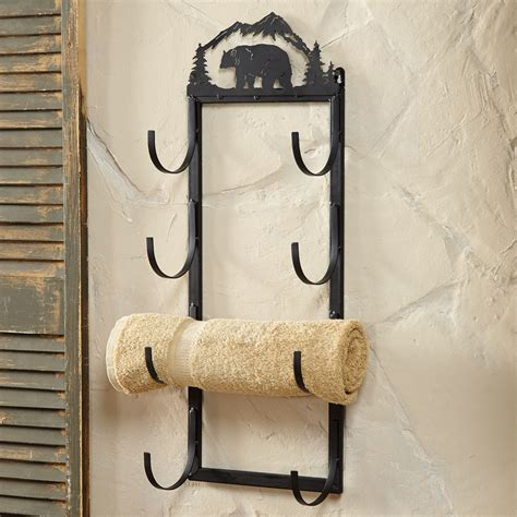 decorative bathroom towel racks bear wall door mount towel rack rustic country decore