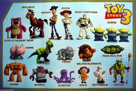 story name disney pixar quot story 3 quot poster cast of characters with their names by them ebay