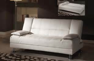fae white bycast leather adjustable futon sofa bed