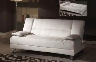 Fae white bycast leather adjustable futon sofa bed
