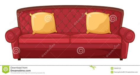 red couch cushions a red sofa and yellow cushions royalty free stock photo