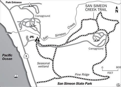 creek state park trail map san simeon state park san simeon creek trail map