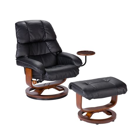recliner chair with footstool bonded leather birch u base swivel glider reclining chair