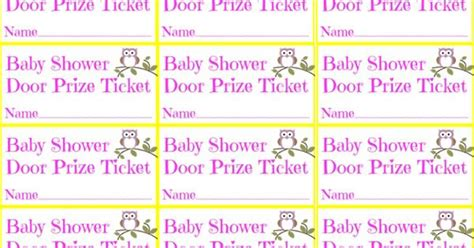 printable tickets for door prizes baby shower girl owl door prize ticket free printable